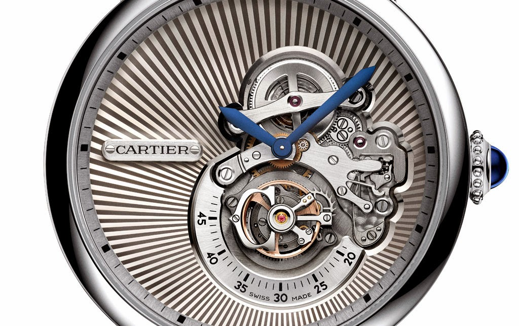 Replica Rotonde de Cartier Flying Tourbillon reversed dial watch hands on